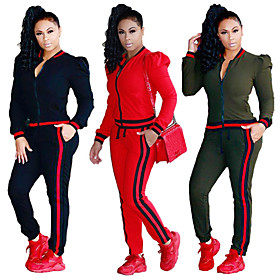Women's Tracksuit Casual Long Sleeve 2pcs High Waist Cotton Breathable Quick Dry Soft Gym Workout Workout Sportswear Solid Colored Plus Size Pants / Trousers S