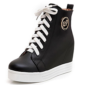 Women's Sneakers Hidden Heel PU Fall Black / White