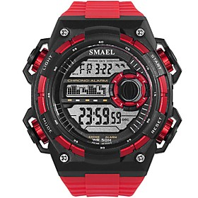 Men's Sport Watch Digital Watch Digital Oversized Casual Water Resistant / Waterproof Digital White Black Red / Quilted PU Leather / Noctilucent / Large Dial