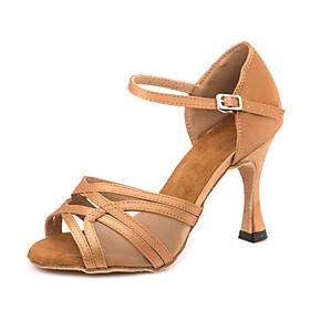 Women's Dance Shoes Latin Shoes / Ballroom Shoes / Line Dance Sandal Sneaker Buckle Slim High Heel Customizable Brown / Performance / Satin / Leather / EU37