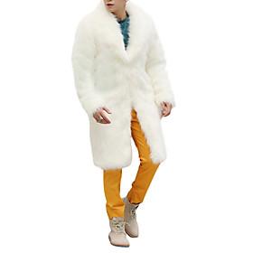 Men's Weekend Winter Long Coat, Solid Colored Shawl Lapel Long Sleeve Faux Fur White / Black / Brown / Loose
