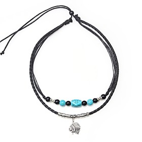 Men's Blue Onyx Pendant Necklace Vintage Necklace Beads Artistic Simple Vintage Leather Alloy Black 45 cm Necklace Jewelry 1pc For Gift Going out