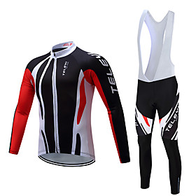 Men's Long Sleeve Cycling Jersey with Bib Tights Winter Fleece Polyester Black White Bike Clothing Suit Fleece Lining Breathable Warm Sports Solid Color Mounta