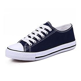 Women's Canvas Fall  Winter Sneakers Flat Heel Round Toe Black / Red / Blue