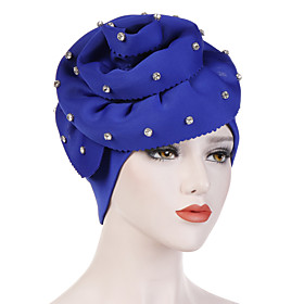 Women's Turban Work Basic Cute Cotton Floppy Hat-Solid Colored Floral Print All Seasons Black White Fuchsia
