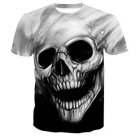 Men's 3D Cartoon Print T-shirt Gray