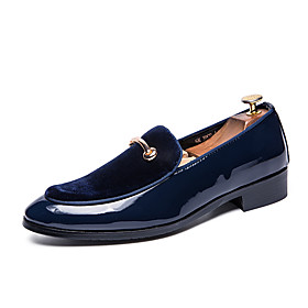 Men's Loafers  Slip-Ons Comfort Shoes Casual Daily Patent Leather Non-slipping Black / Dark Blue Spring  Summer