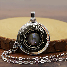 Men's Pendant Necklace Classic Letter Classic Steampunk Glass Chrome Black Gold Silver 455 cm Necklace Jewelry 1pc For Street Bar