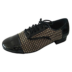 Men's Dance Shoes PU Latin Shoes Heel Thick Heel Black / Gold Category:Latin Shoes; Upper Materials:PU; Heel Type:Thick Heel; Gender:Men's; Style:Heel; Outsole Materials:Suede; Occasion:Party; Listing Date:01/10/2019; Foot Length:; Size chart date source:Measured by LightInTheBox.