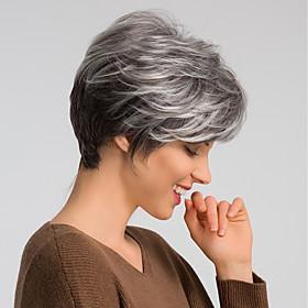 Human Hair Wig Short Natural Straight Pixie Cut Dark Gray Mixed Color Fashionable Design Easy dressing Comfortable Capless Women's Dark Wine Black Grey Beige B