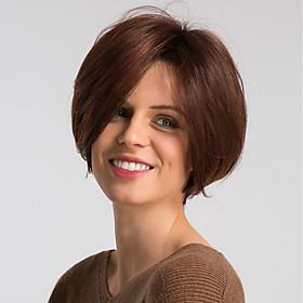 Human Hair Wig Short Natural Straight Pixie Cut Burgundy Mixed Color Fashionable Design Easy dressing Comfortable Capless Women's Black / Grey Black / Burgundy