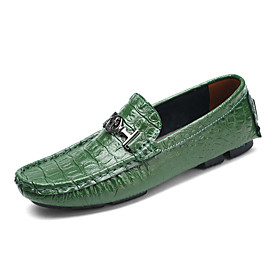 Men's Loafers  Slip-Ons Dress Shoes Casual / British Daily Office  Career Walking Shoes Leather Wear Proof White / Black / Green Spring