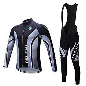 Men's Long Sleeve Cycling Jersey with Bib Tights Winter Fleece Polyester Black White Bike Clothing Suit Fleece Lining Breathable Warm Sports Yarn Dyed Mountain