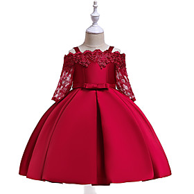 Kids Girls' Active Sweet Party Holiday Solid Colored Christmas Half Sleeve Knee-length Dress Wine