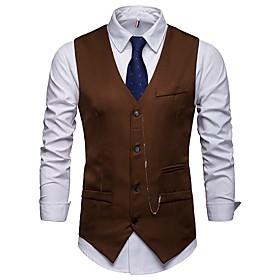 Men's V Neck Vest Regular Solid Colored Work Business Fall Winter Sleeveless White / Black / Wine S / M / L / Slim
