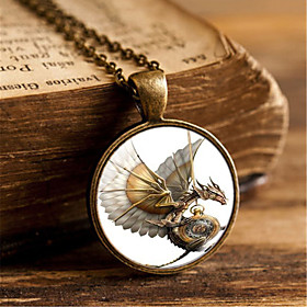Men's Pendant Necklace Classic Dragon Simple Steampunk Satanic Glass Chrome Black Gold Silver 455 cm Necklace Jewelry 1pc For Daily Street