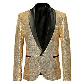 Men's Blazer Regular Solid Colored Party Club Luxury Black / Wine / Gold S / M / L