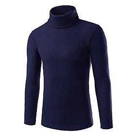 Men's Basic Streetwear Solid Colored Pullover Long Sleeve Skinny Regular Sweater Cardigans Turtleneck Fall Winter White Black Blue / Work / Weekend