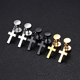 Men's Drop Earrings Classic Cross Classic European Platinum Plated Gold Plated Earrings Jewelry Black / White / Gold For Street 1 Pair