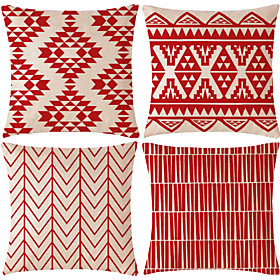 red rustic geometric pillow covers