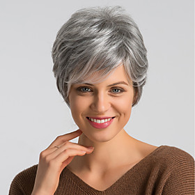 Human Hair Wig Short Natural Straight Pixie Cut Red Blonde Mixed Color Fashionable Design Easy dressing Comfortable Capless Women's Dark Wine Black / Grey Beig