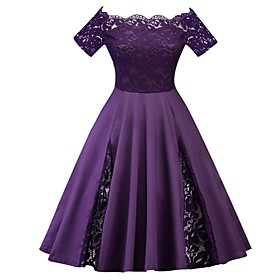Women's A-Line Dress Midi Dress - Short Sleeve Solid Colored Lace Spring Summer Off Shoulder Plus Size 1950s Vintage Party Black Blue Purple Red Wine Green Roy