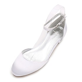 Women's Wedding Shoes Plus Size Flat Heel Round Toe Sweet Wedding Party  Evening Solid Colored Satin Walking Shoes Summer White / Purple / Red