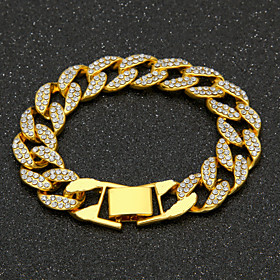 Men's AAA Cubic Zirconia Chain Bracelet Cuban Link Precious Luxury Fashion Hip-Hop Hip Hop Iced Out Gold Plated Bracelet Jewelry Gold / Silver For Daily Work /
