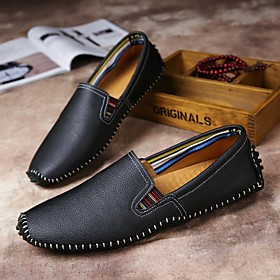 Men's Loafers  Slip-Ons Casual Daily Walking Shoes Nappa Leather Breathable Handmade Non-slipping Black / Blue / Brown Fall