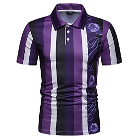 Men's Striped Polo Exaggerated Party Shirt Collar Purple / Orange / Short Sleeve