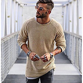 Men's Daily Solid Colored Long Sleeve Regular Pullover Sweater Jumper Black / Light Brown / White M / L / XL