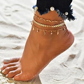 Ankle Bracelet feet jewelry Tropical Casual / Sporty Bikini Women's Body Jewelry For Carnival Bikini Layered Cubic Zirconia Imitation Diamond Alloy Arrow Gold