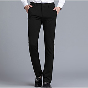 Men's Basic Daily Dress Pants Pants Solid Colored Black Navy Blue M L XL