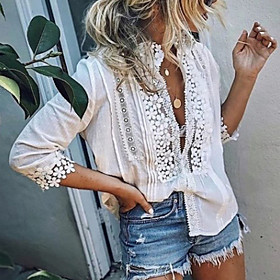Women's Holiday Blouse Shirt Solid Colored Long Sleeve Lace Deep V Tops Lace Basic Top White Blue Blushing Pink