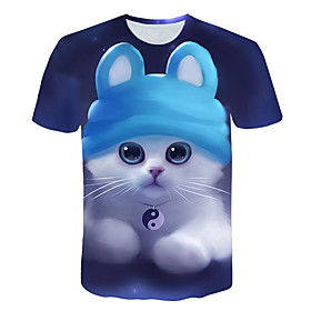 Men's 3D Graphic Cat Print T-shirt Basic Street chic Daily Weekend Round Neck Royal Blue / Short Sleeve / Animal