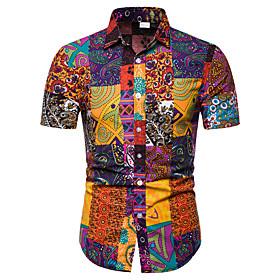 Men's Club Shirt Tribal Print Short Sleeve Tops Business Streetwear Black Blue Red