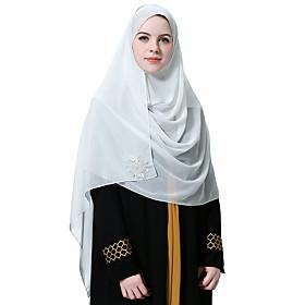Women's Basic Chiffon Hijab - Solid Colored Sequins / All Seasons