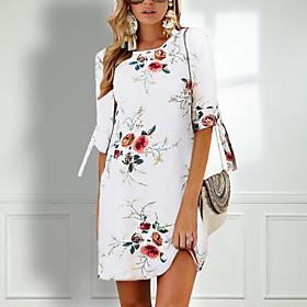 Women's Mini Chiffon Dress - Half Sleeve Floral Flower Bow Print Summer Spring  Summer Casual Holiday 2020 White Red Khaki Royal Blue Gray S M L XL XXL