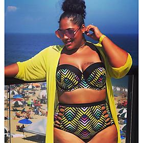 Women's Basic Strap Green Underwire Cheeky Bikini Swimwear Swimsuit - Geometric L XL XXL Green / Sexy