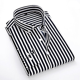 Men's Striped Shirt Daily Classic Collar White / Black / Blue / Red / Navy Blue / Light Blue / Long Sleeve