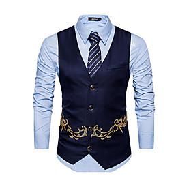 Men's V Neck Vest Short Solid Colored Work Spring Embroidered Sleeveless Black / Khaki / Navy Blue S / M / L / Business Casual