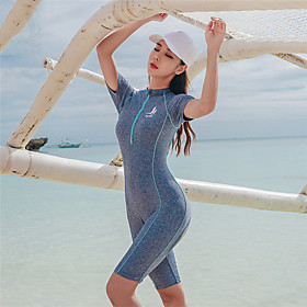 SANQI Women's Rash Guard Dive Skin Suit Diving Suit Quick Dry Short Sleeve Front Zip Boyleg - Swimming Solid Colored Summer / Stretchy