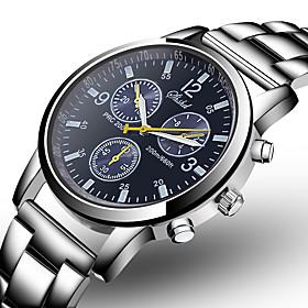Men's Dress Watch Aviation Watch Quartz Fashion Fake Three Eyes Six Needles Analog Black Blue / One Year / Stainless Steel