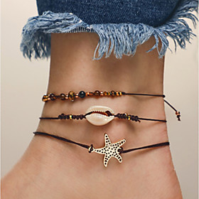 Ankle Bracelet feet jewelry Simple Classic Vintage Women's Body Jewelry For Causal Daily Layered Hemp Rope Shell Alloy Black 3pcs