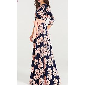 Women's Maxi Sheath Dress - 3/4 Length Sleeve Geometric Basic Light Blue S M L XL XXL