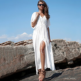 Women's Swing Dress Short Sleeve Tassel V Neck Vacation Boho White Green One-Size / Maxi