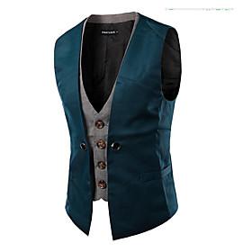 Men's Vest, Solid Colored V Neck Polyester Black / White / Red