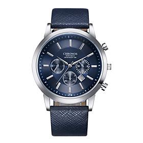 Men's Sport Watch Dress Watch Wrist Watch Quartz Luxury Calendar / date / day Analog Black / White Black Blue / One Year / Stainless Steel / Leather / Shock Re