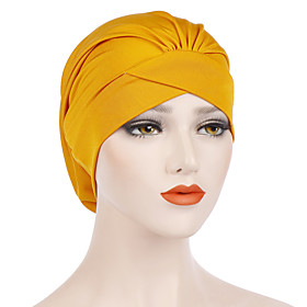Women's Turban Work Basic Cute Nylon Lycra Floppy Hat-Solid Colored All Seasons Black Wine White