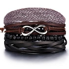 Men's Bead Bracelet Leather Bracelet Loom Bracelet Retro Weave Infinity Classic Vintage European Casual / Sporty Leather Bracelet Jewelry Brown For Street Holi
